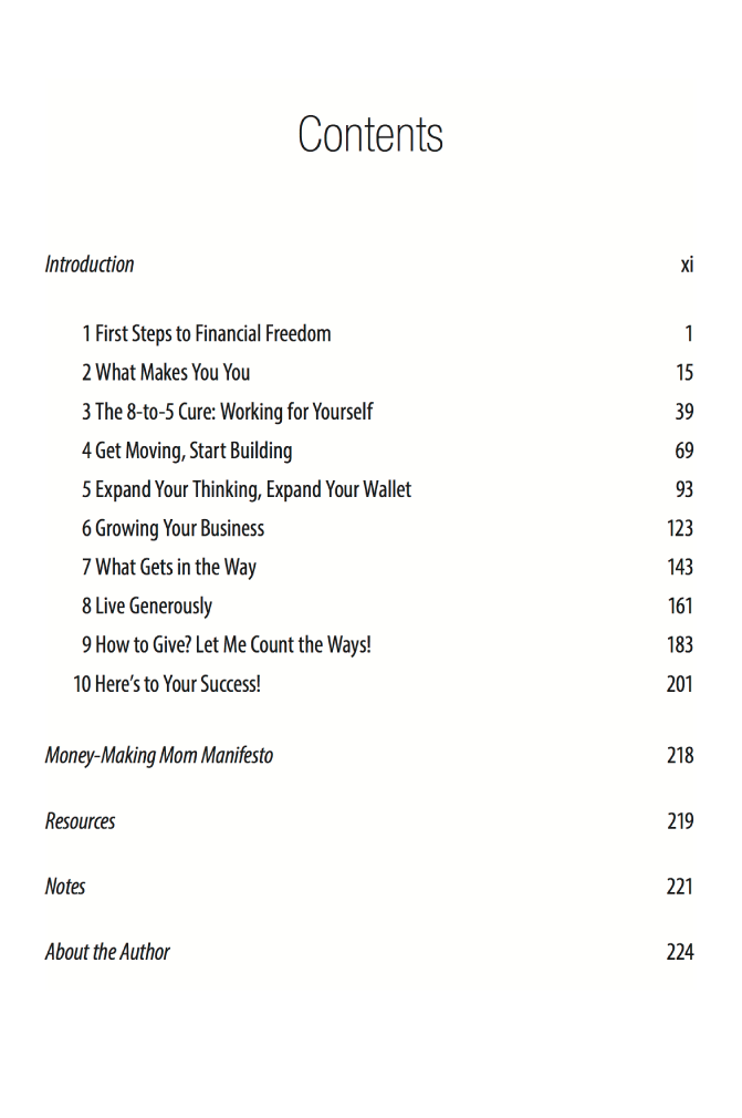 Table of Contents Money-Making Mom